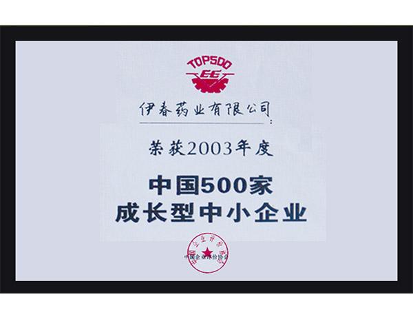 中国500家成长型中小企业