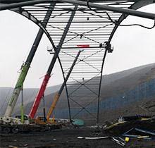 70米跨鋼結構煤棚圓滿合攏
